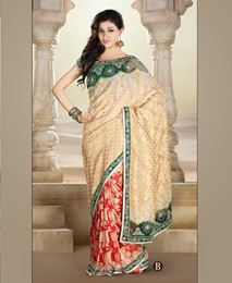 Picture of Gold/Red Banarasi saree