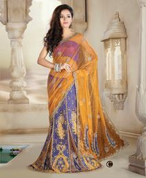 Picture of Yellow/Blue Net Saree