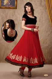 Picture of Maroon/Black Net Anarkali Suit