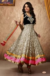 Picture of Off White/Black Brasso Net Anarkali Salwar Suit