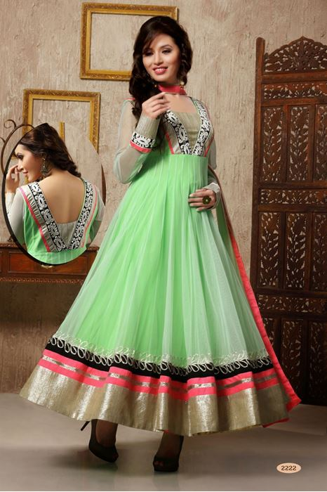 Picture of Light Parrot Green Net Anarkali Salwar Suit