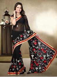 Picture of Moon Collection Black Faux Chiffon Saree