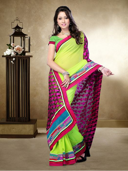 Picture of Moon Collection Light Parrot Green/Black Brasso Net/Faux Georgette Saree