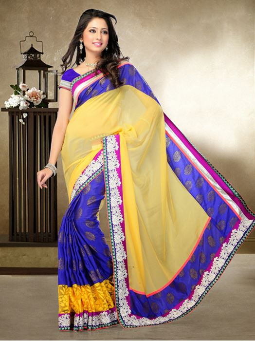 Picture of Moon Collection Carbon Blue/Yellow Georgette/Banarasi Silk/Net Saree