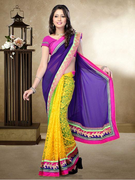 Picture of Moon Collection Yellow/Purple Faux Georgette/Brasso Net Saree