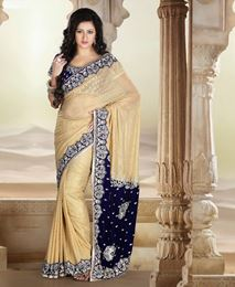 Picture of Amazing Beige/Royal Blue Shimmer Saree