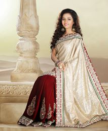 Picture of Beige & Red Velvet Saree