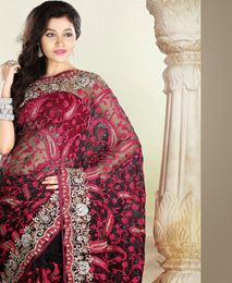 Picture of Black/Pink tissue Saree