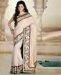 Picture of Cream Pure Khadi Saree