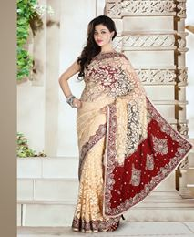 Picture of Gold/Maroon Net Brasso Saree