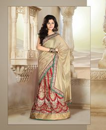 Picture of Gold/Red Pure Shimmer saree