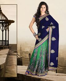 Picture of Royal Blue Velvet Saree
