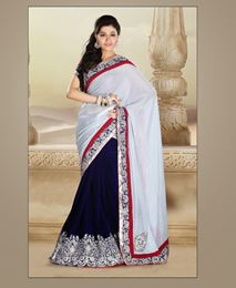 Picture of Steal Grey Velvet Saree