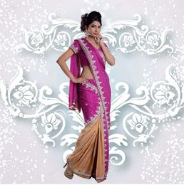 Picture of Khawaab Collection Rani Pink/Gold Satin Chiffon/Shimmer Saree