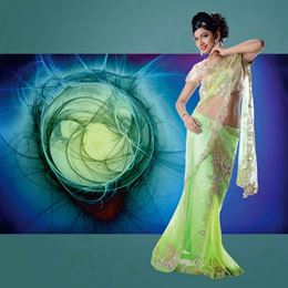 Picture of Khawaab Collection Parrot Green Net Saree