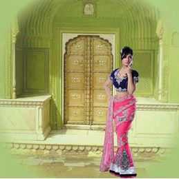Picture of Khawaab Collection Pink/Royal Blue Net & Velvet Saree