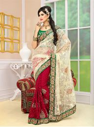 Picture of Jackpot Collection Biege/Maroon Net Saree