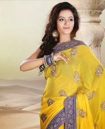 Picture of Yellow Viscose Saree