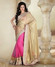 Picture of Gold/Pink pure shimmer Net Saree