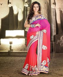 Picture of Pink Pure Chiffon Saree