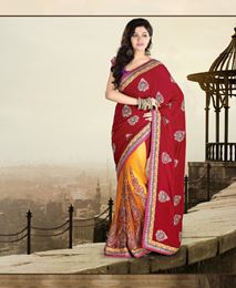Picture of Red Velvet Saree